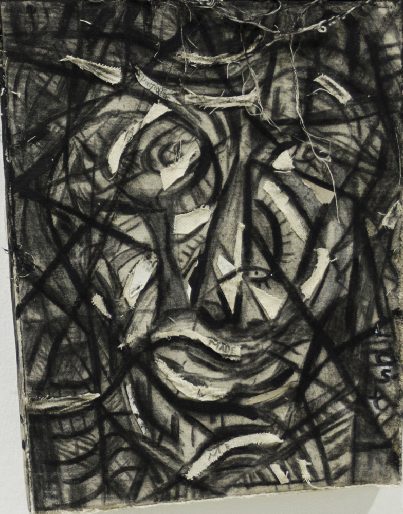 16Charcoal on asymmetry camvas .Psychedelic selfportrait(3).32x41cm