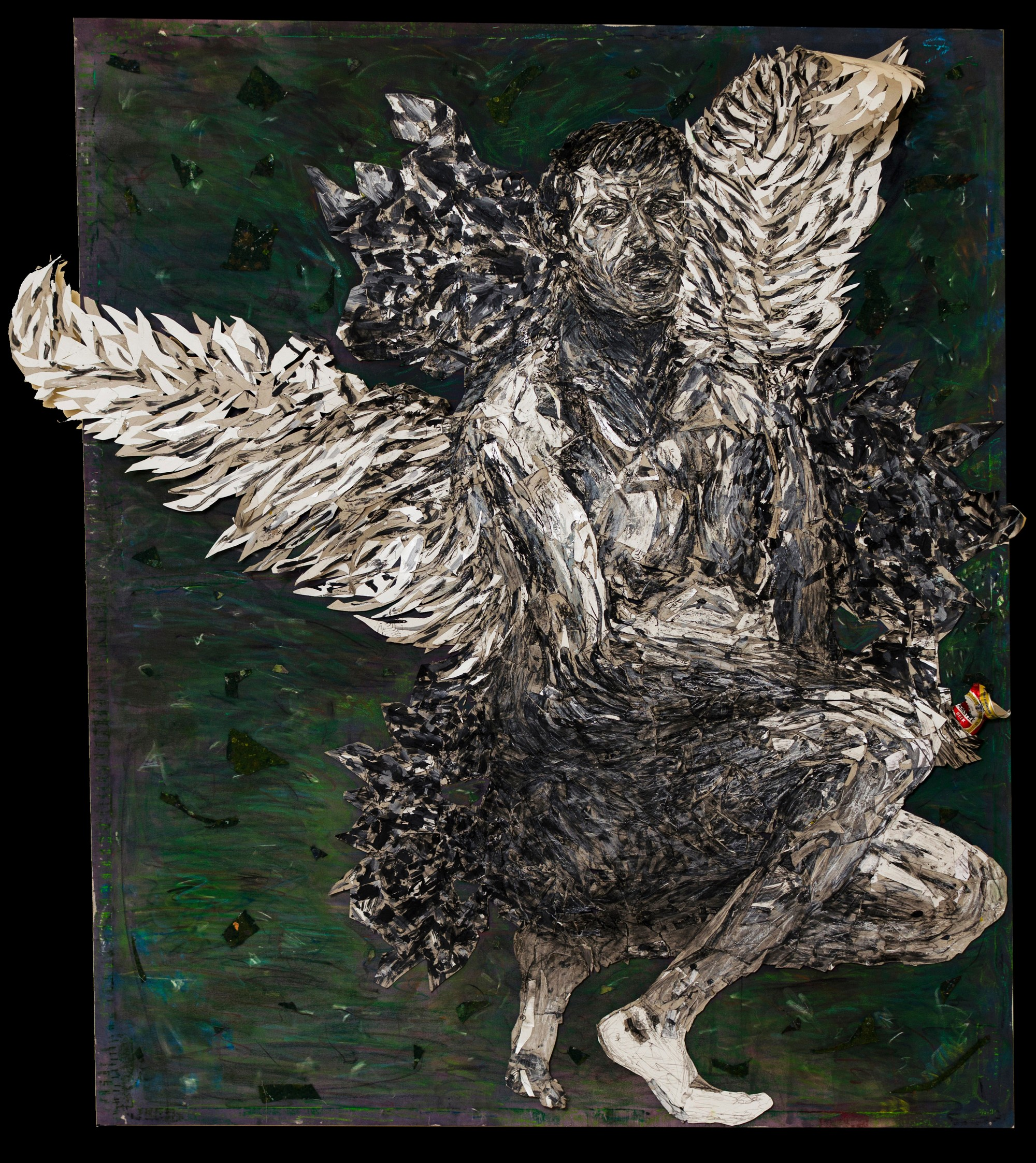 16Coulored by plastic coulors and charcoal.Collage with pieces of paperboard on camvas.3 dimentions.Angel.170x195cm