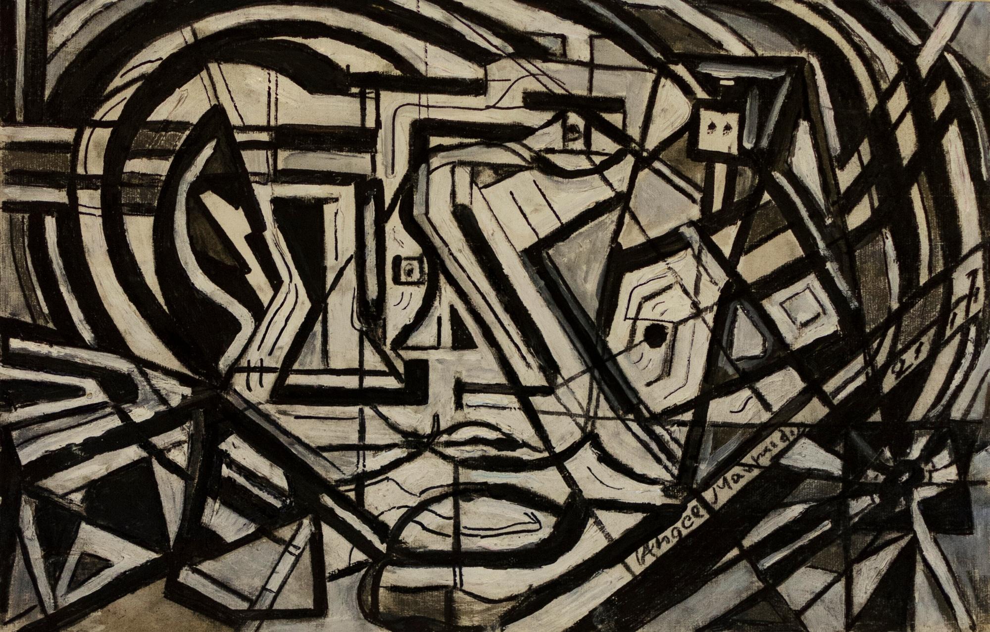 17Pen ,pencil, plastic colours on camvas.Psychedelic selfportrait(1).32x50cm