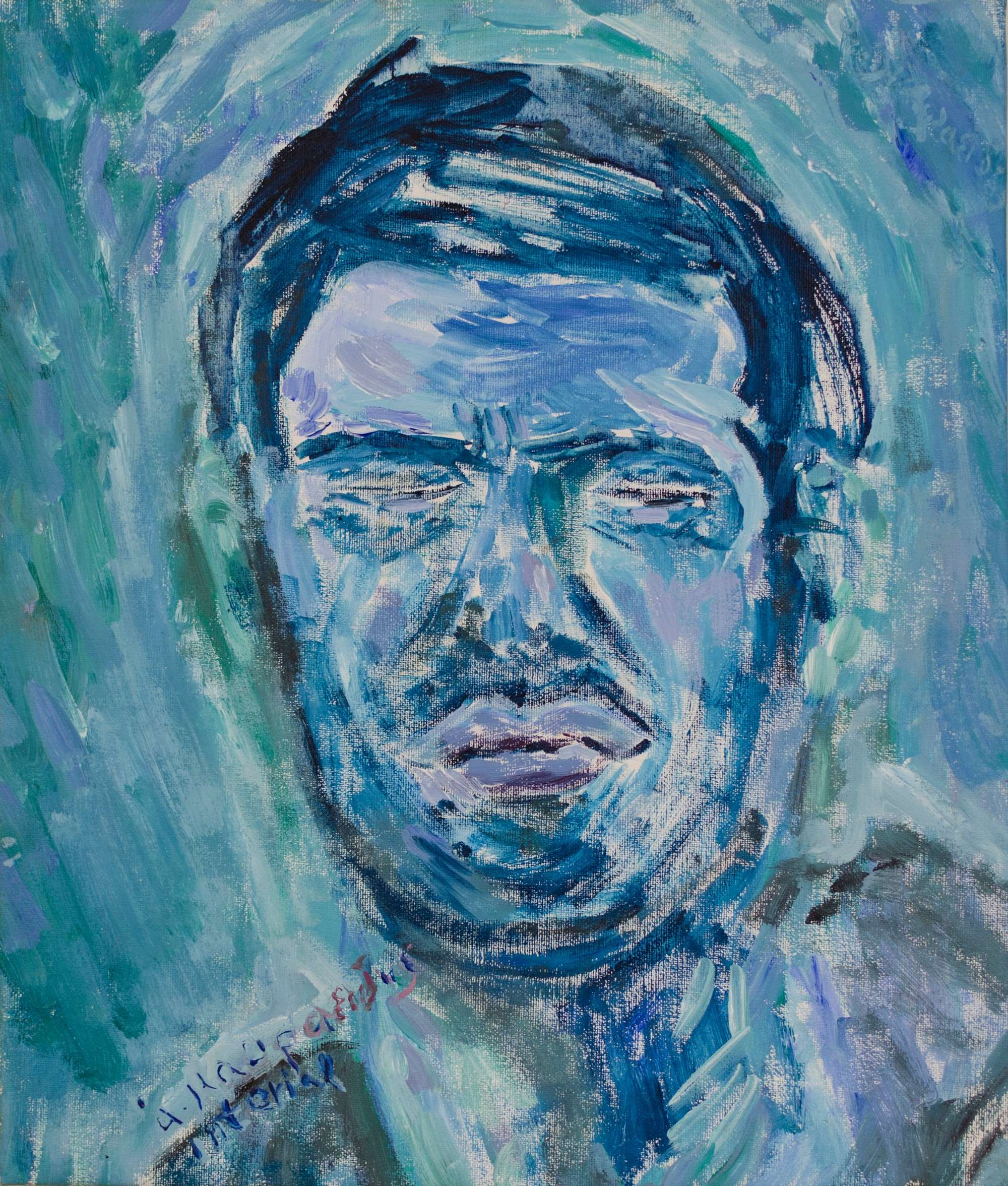 1Acrylic colours.My first blue selfportrait .35x41cm