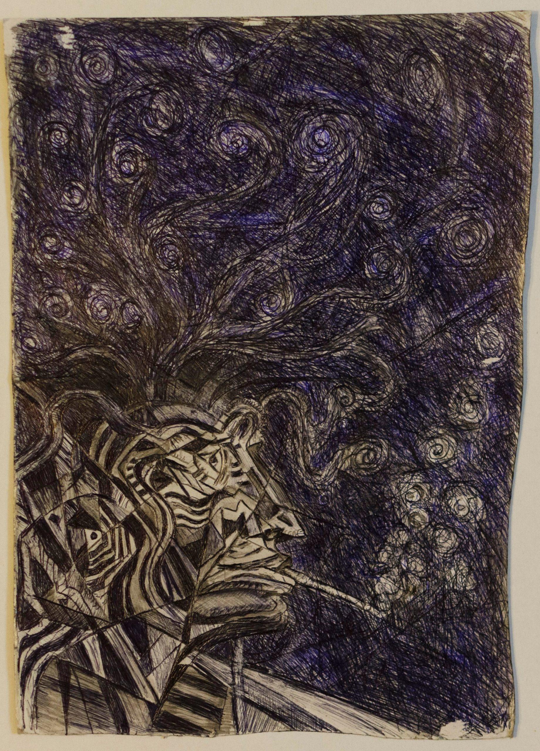 25Pen,pencil on paperboard.Smoking deck(1).24x35cm