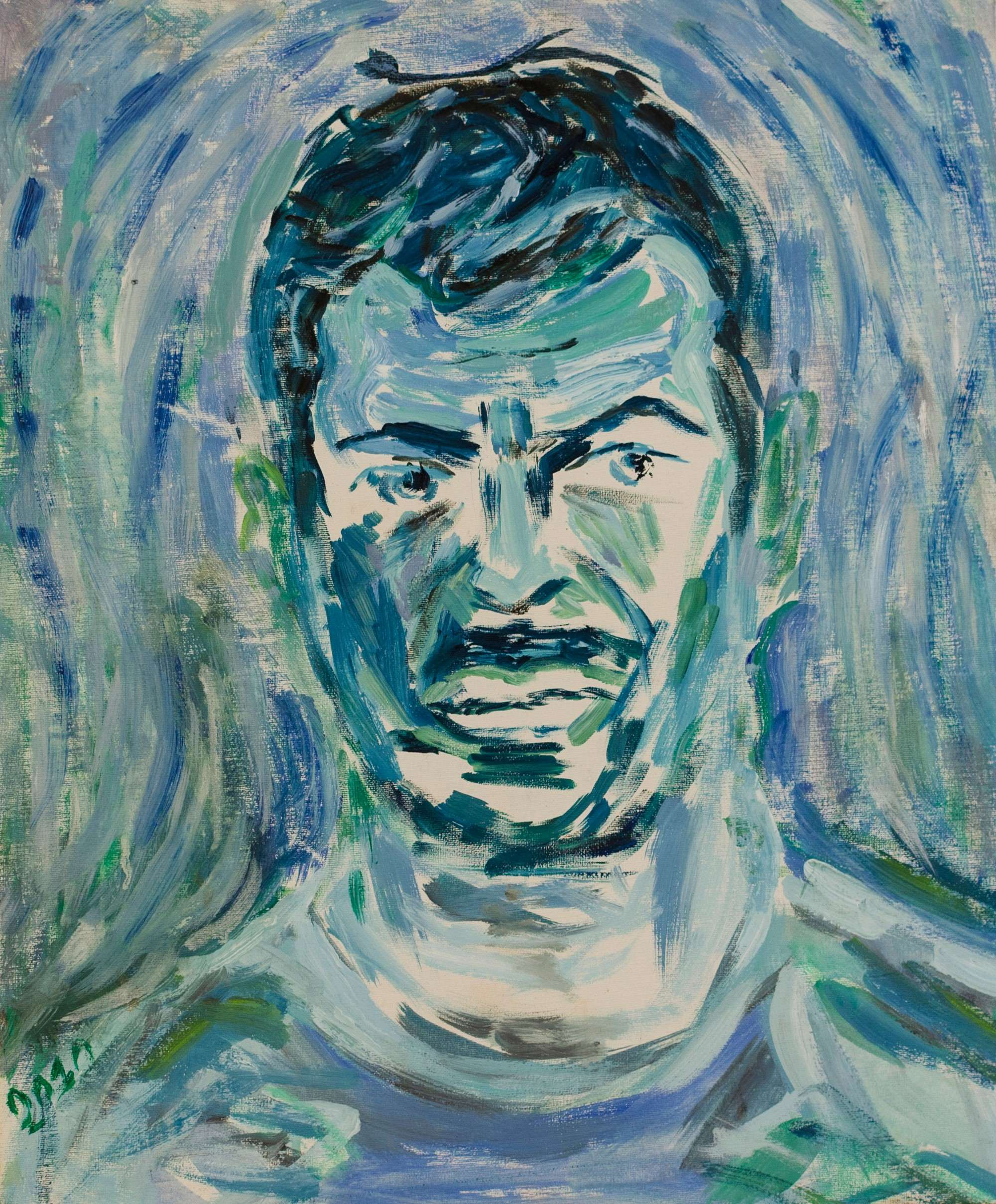 2Acrylic colours.Selfportrait.43x52cm