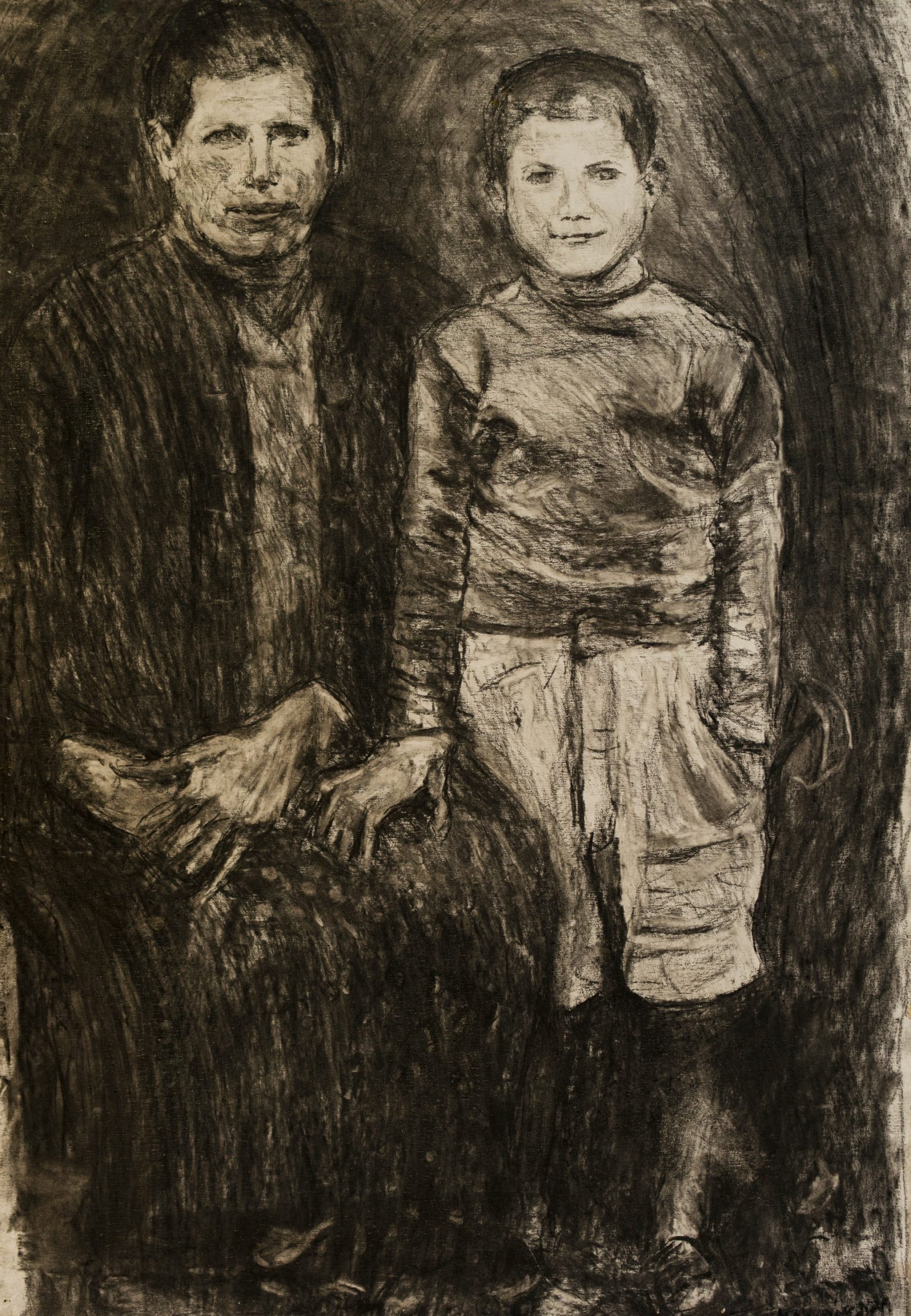 4Charcoal on camvas.Mother and son.195 6.x70 cm(2)