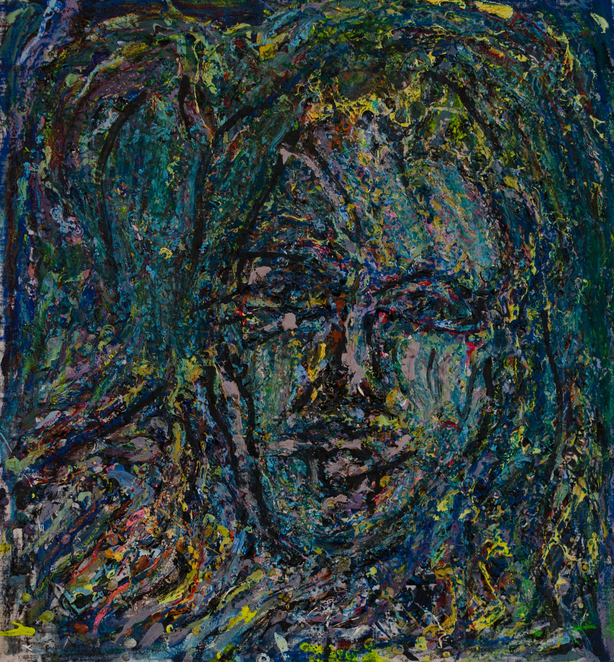 7Plastic colours,oil pastel and charcoal.Selfportrait.44x47cm