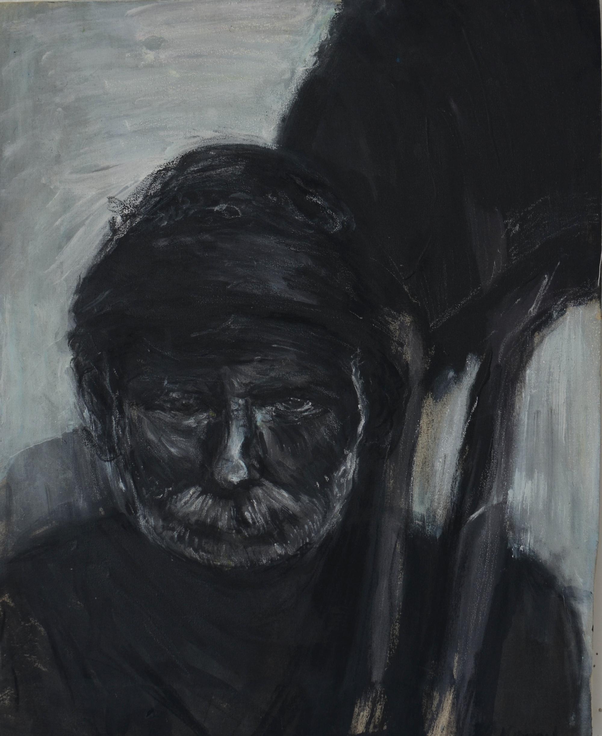 Charcoal,oil pastel,plastic colours on camvas.Coal miner.45x58cm