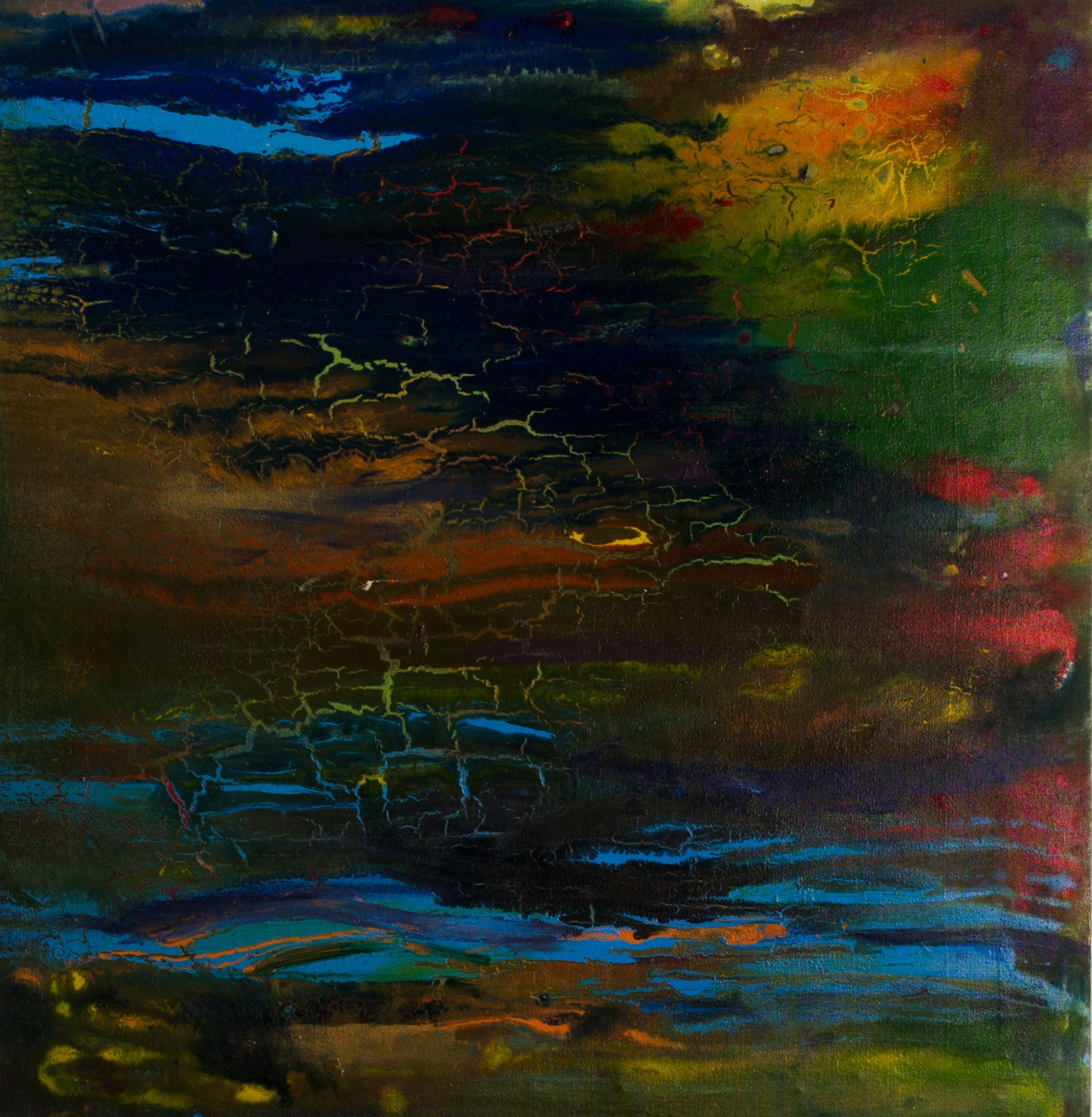 Plastic .Sunrise and sunset.69x71cm