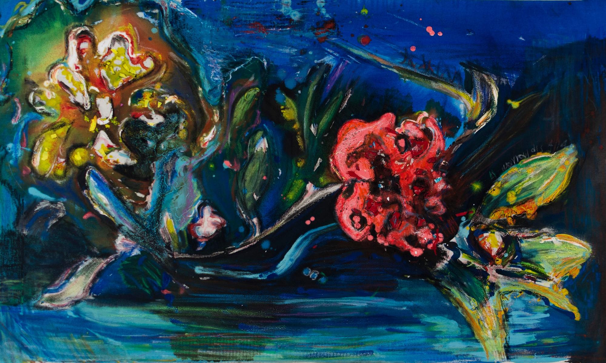 Plastic colours,oil pastel,flowers,50x90cm