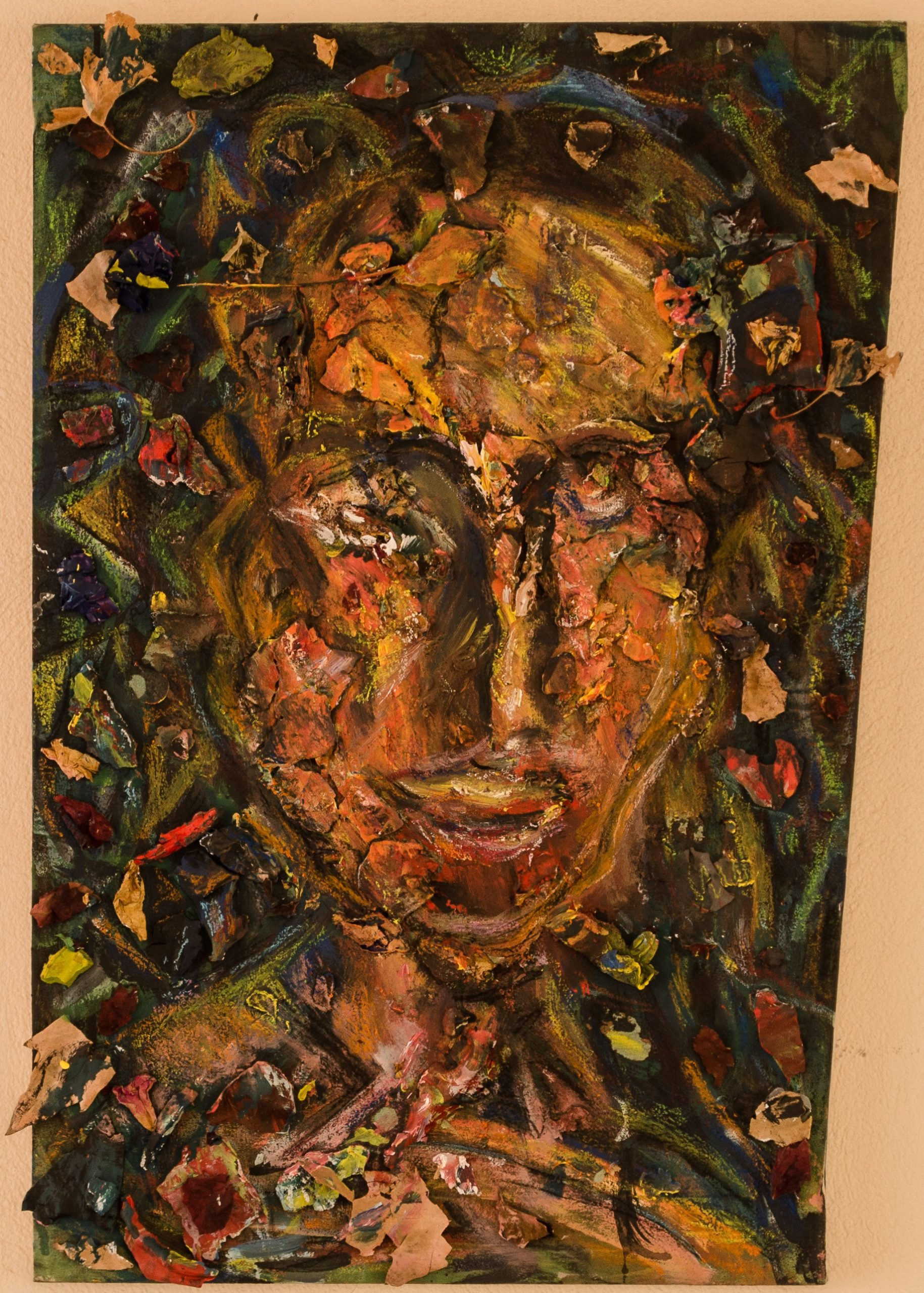 portaitr.collage with parched pieces ofplastic colours and leaves,45x65cm (2)