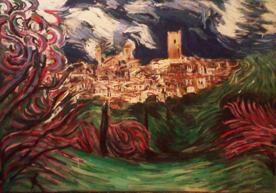 1Acrylic colours and plaster.Village.170x210cm